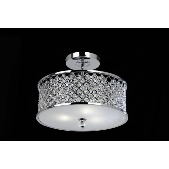 Endon HUDSON-3CH Hudson 3 Light Crystal Ceiling Light Chrome