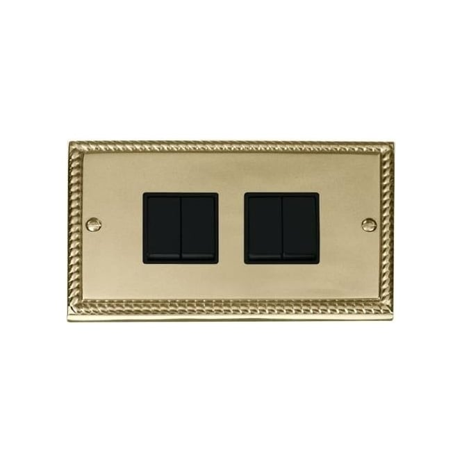 Click Deco Georgian Cast Brass GCBR019 4 Gang 2 Way Light Switch