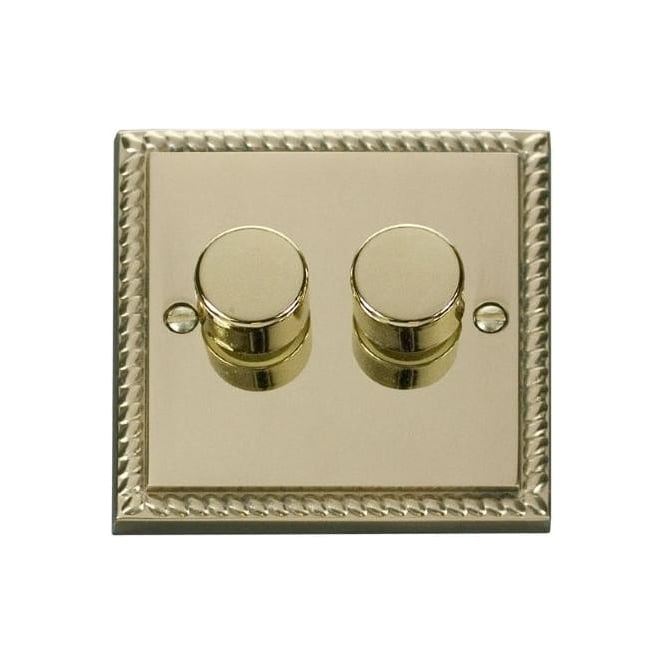 Click Deco Georgian Cast Brass GCBR152 2 Gang 2 Way 400W Double Dimmer Switch