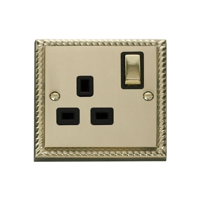 Click Deco Georgian Cast Brass GCBR535 1 Gang 13A DP Ingot Switched Single Socket