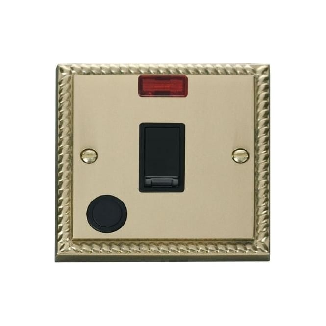Click Deco Georgian Cast Brass GCBR023 20A DP Switch with Flex Outlet & Neon
