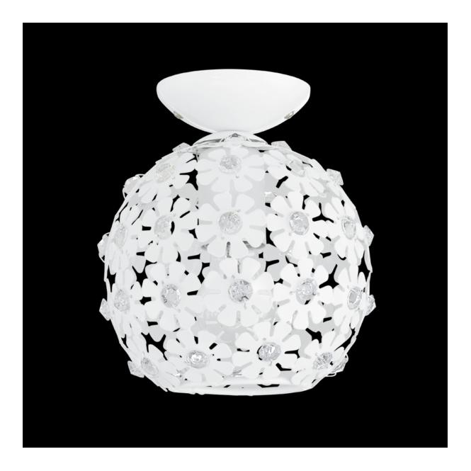 Eglo 92282 Hanifa 1 Light Ceiling Light White Steel Clear Beads