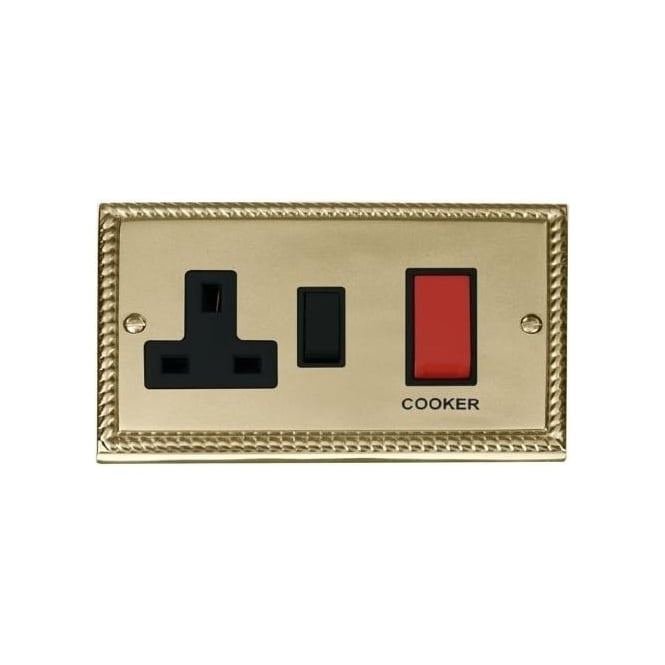 Click Deco Georgian Cast Brass GCBR204 2 Gang 45A DP Cooker Switch & 13A Switched Socket