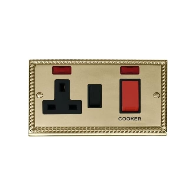 Click Deco Georgian Cast Brass GCBR205 2 Gang 45A DP Cooker Switch & 13A Switched Socket with Neons