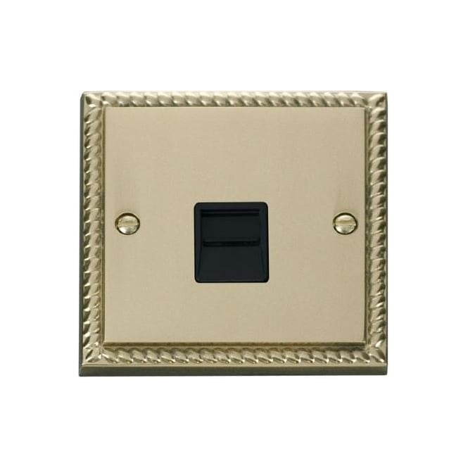 Click Deco Georgian Cast Brass GCBR125 Single Telephone Socket - Secondary