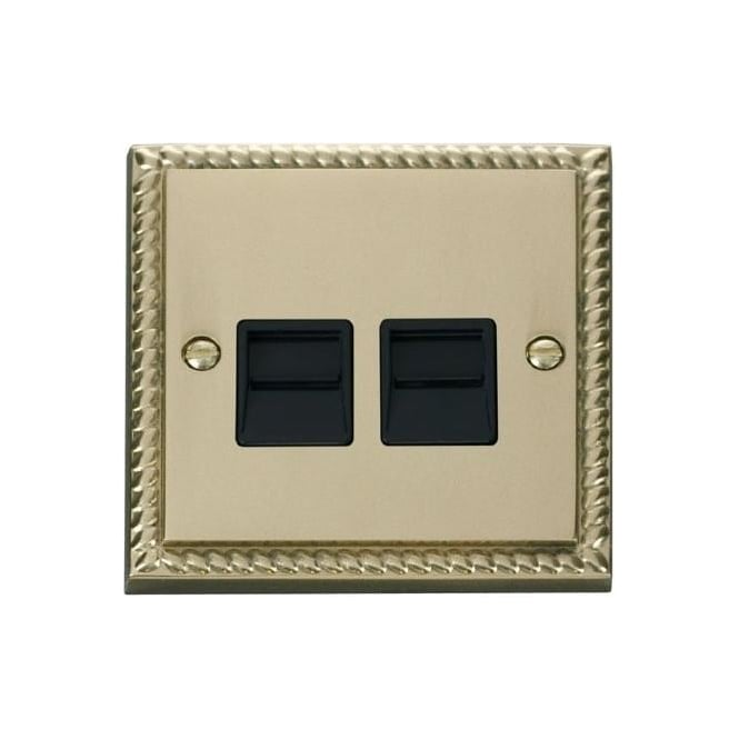 Click Deco Georgian Cast Brass GCBR126 Twin Telephone Socket - Secondary