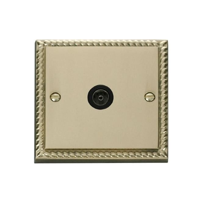 Click Deco Georgian Cast Brass GCBR065 Non-Isolated Single Coaxial Socket