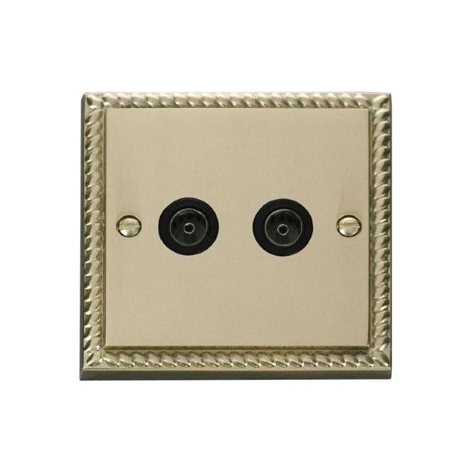 Click Deco Georgian Cast Brass GCBR066 Non-Isolated Twin Coaxial Socket