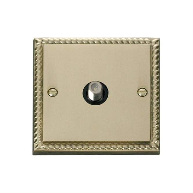 Click Deco Georgian Cast Brass GCBR156 Non-Isolated Single Satellite Socket