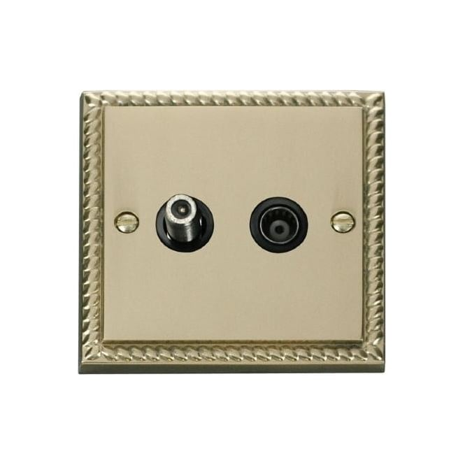Click Deco Georgian Cast Brass GCBR157 Isolated Satellite & Coaxial Socket