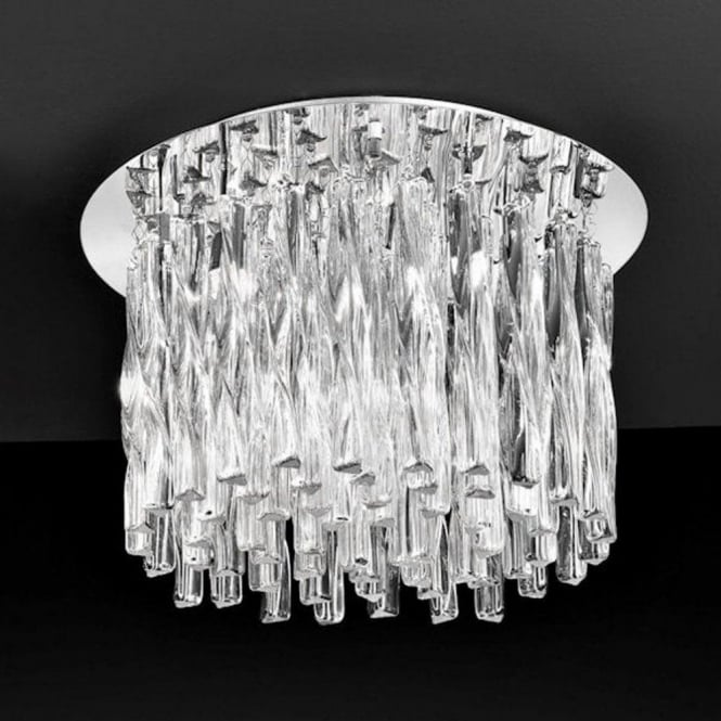 Franklite FL2175/8 Glacial 8 Light Ceiling Light Polished Chrome