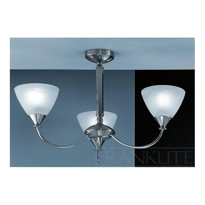Franklite PE9673/786 Meridian 3 Light Ceiling Light Brushed Nickel