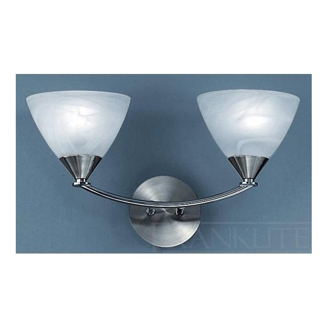 Franklite PE9672/786 Meridian 2 Light Wall Light Brushed Nickel