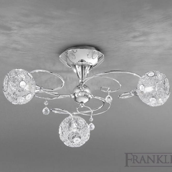 Franklite FL2214/3 Orion 3 Light Ceiling Light Polished Chrome