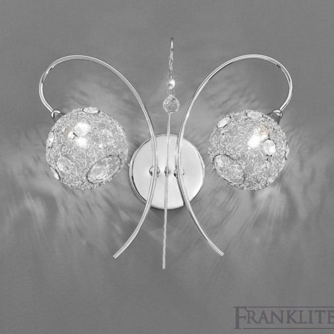 Franklite FL2214/2 Orion 2 Light Wall Light Polished Chrome