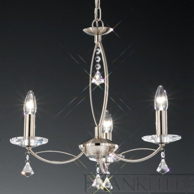 Franklite FL2225/3 Monaco 3 Light Crystal Ceiling Light Satin Nickel