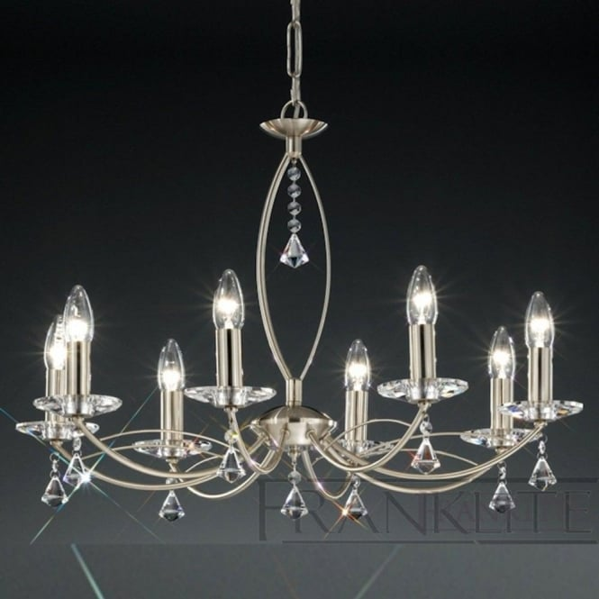 Franklite FL2225/8 Monaco 8 Light Crystal Ceiling Light Satin Nickel