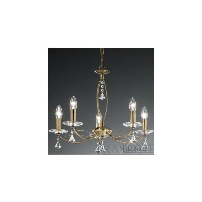 Franklite FL2228/5 Monaco 5 Light Crystal Ceiling Light Bronze