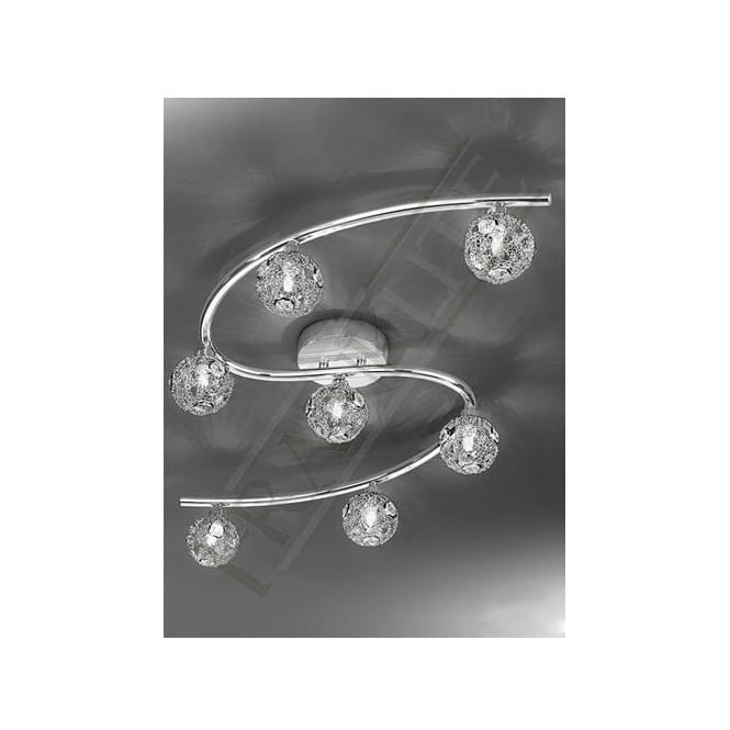 Franklite FL2305/7 Horologica 7 Light Crystal Ceiling Light Polished Chrome