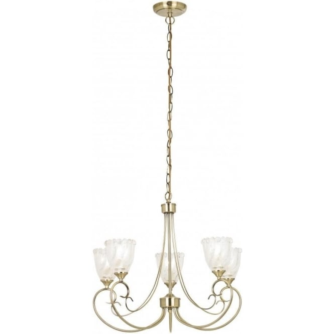 Endon GARNER-5AB 5 Light Ceiling Light Antique Brass