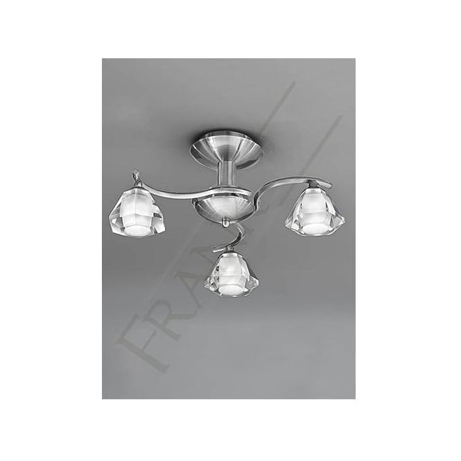 Franklite FL2294/3 Twista 3 Light Crystal Ceiling Light Satin Nickel