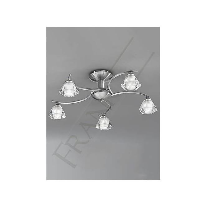 Franklite FL2294/5 Twista 5 Light Crystal Ceiling Light Satin Nickel