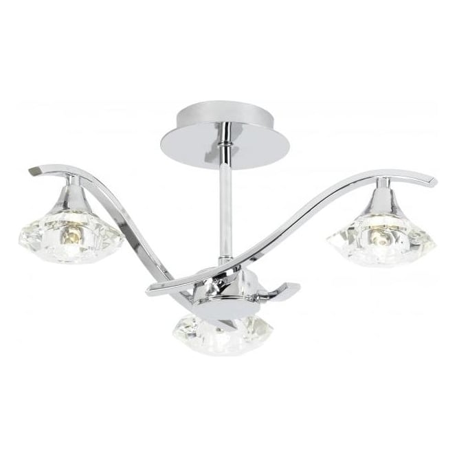 Endon LANGELLA-3CH 3 Light Ceiling Light Polished Chrome