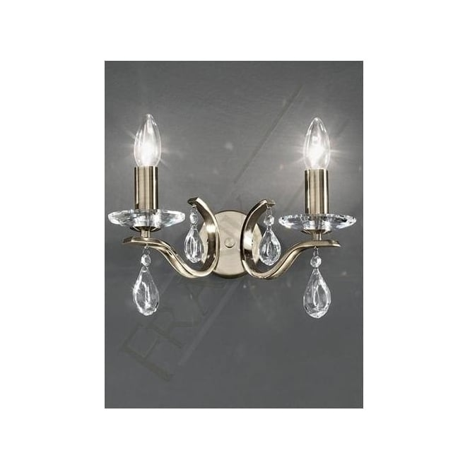 Franklite FL2299/2 Willow 2 Light Crystal Wall Light Bronze