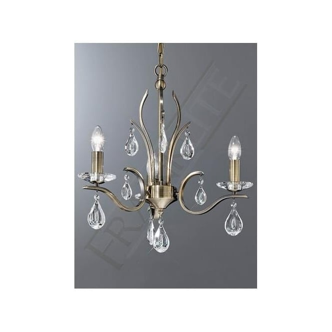 Franklite FL2299/3 Willow 3 Light Crystal Ceiling Light Bronze