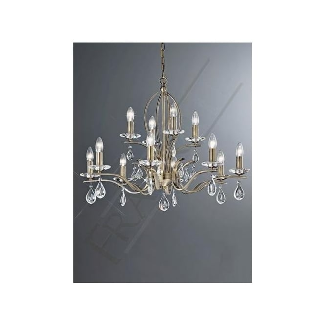 Franklite FL2299/12 Willow 12 Light Crystal Ceiling Light Bronze