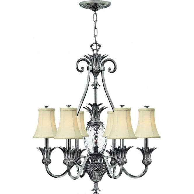 Elstead Lighting Hinkley HK/PLANT7-PL Plantation 7 Light Ceiling Light Polished Antique Nickel