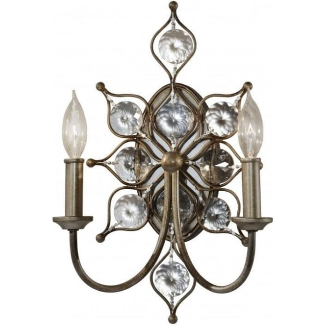 Elstead Lighting Feiss FE/LEILA2 Leila 2 Light Crystal Wall Light Burnished Silver