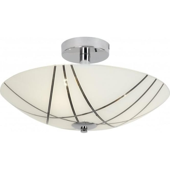 Endon CROSBY-3FCH 3 Light Semi Flushed Ceiling Light Polished Chrome
