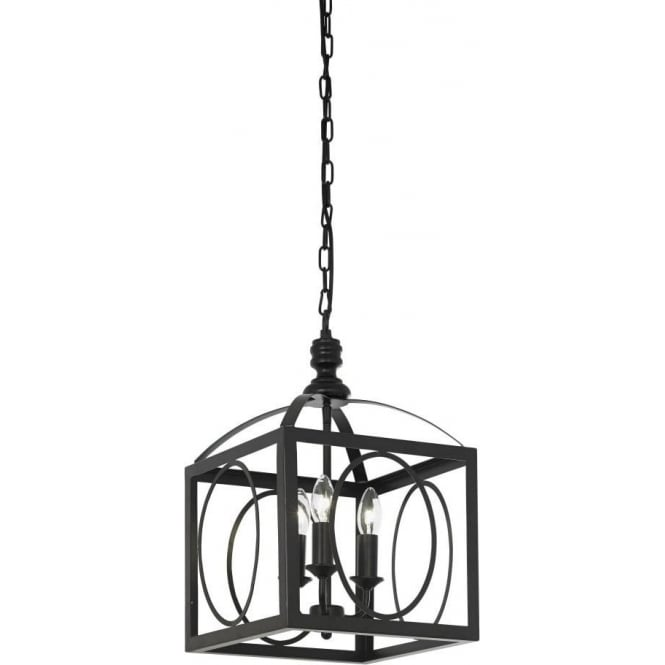Endon WHITMAN-3BL 3 Light Pendant Ceiling Light Black