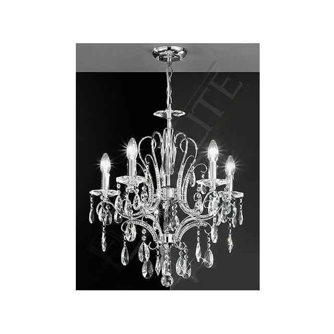 Franklite FL2156/5 Brocade 5 Light Crystal Ceiling Light Polished Chrome