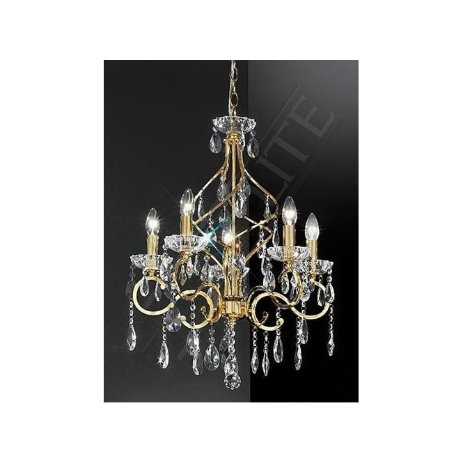 Franklite FL2159/5 Chiffon 5 Light Crystal Ceiling Light Gold