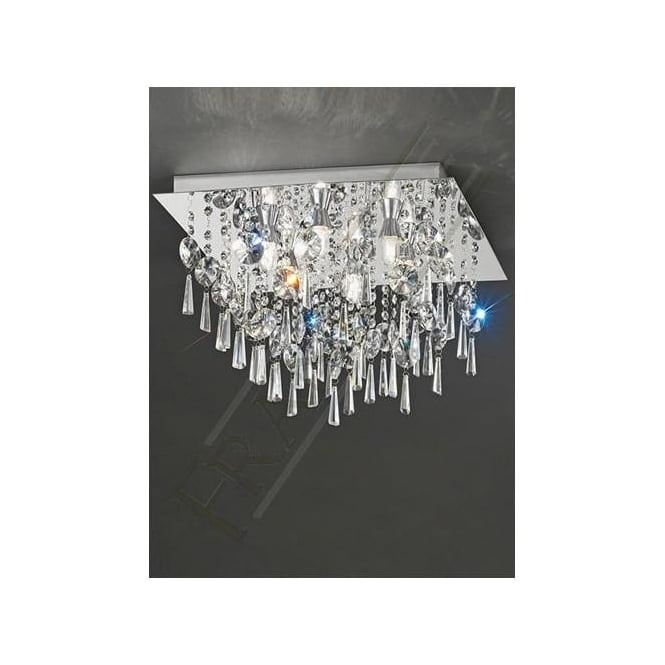 Franklite CF5722 6 Light Bathroom Crystal Ceiling Light Polished Chrome