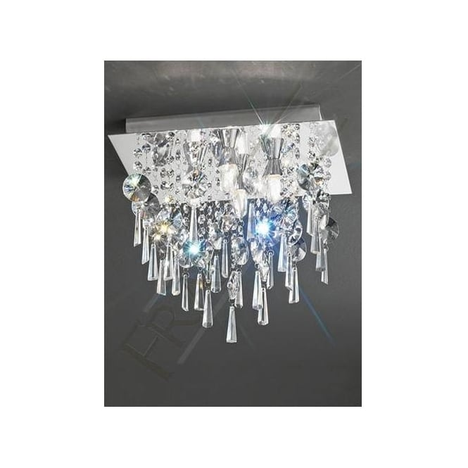 Franklite CF5721 4 Light Bathroom Crystal Ceiling Light Polished Chrome