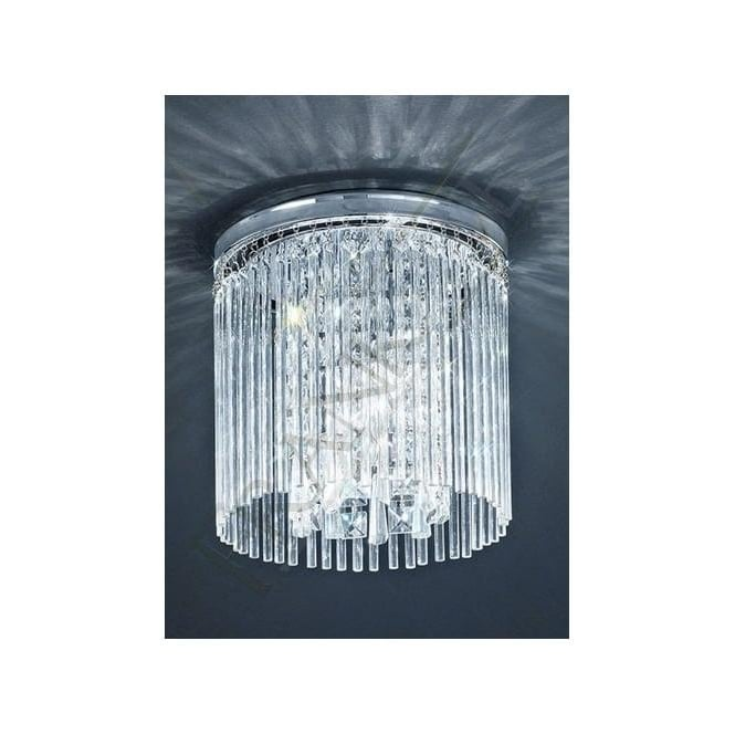 Franklite CF5726 3 Light Bathroom Crystal Ceiling Light Polished Chrome