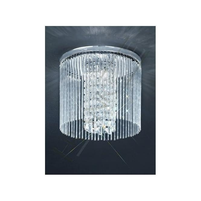 Franklite CF5727 3 Light Bathroom Crystal Ceiling Light Polished Chrome