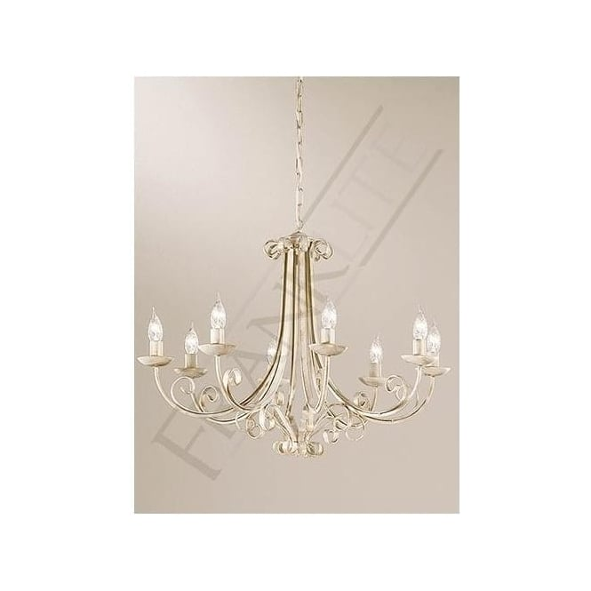Franklite PE7618 Babylon 8 Light Ceiling Light White Brushed Gold