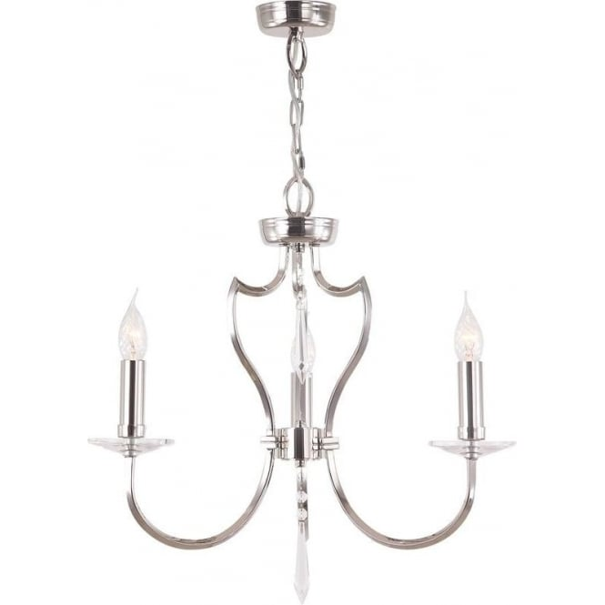 Elstead PM3/PN Pimlico 3 Light Ceiling Light Polished Nickel