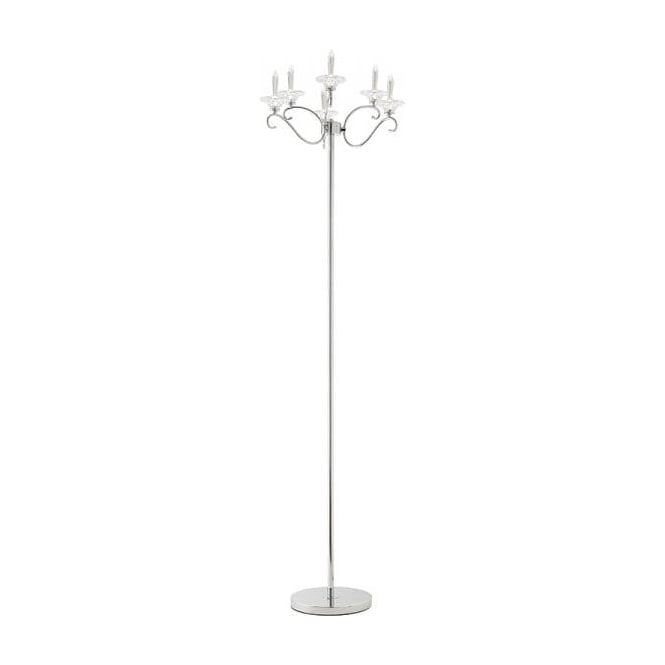 Endon MISCHA-6FLCH Mischa 6 Light Crystal Floor Lamp Polished Chrome