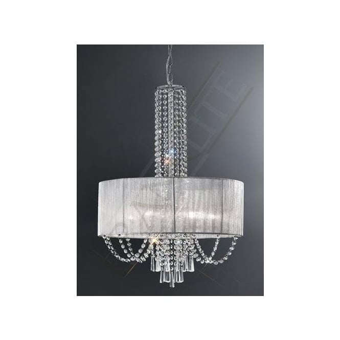Franklite FL2304/6 Empress 6 Light Crystal Ceiling Pendant Polished Chrome