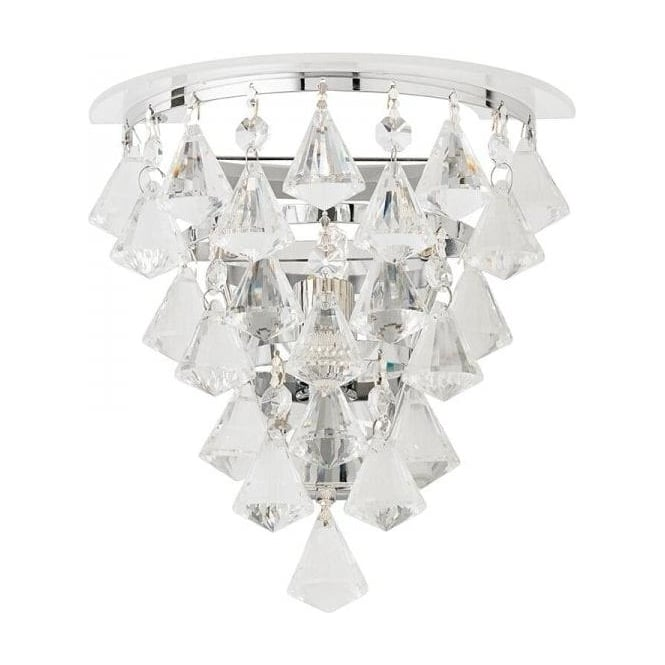 Endon RENNER-1WBCH Renner 1 Light Crystal Wall Light Polished Chrome