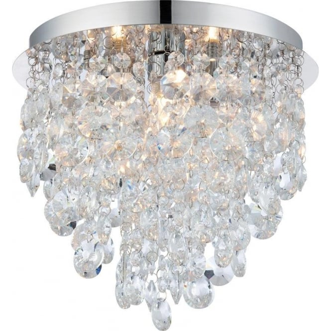 Endon 61233 Kristen 3 Light Flush Ceilling Light IP44 Polished Chrome