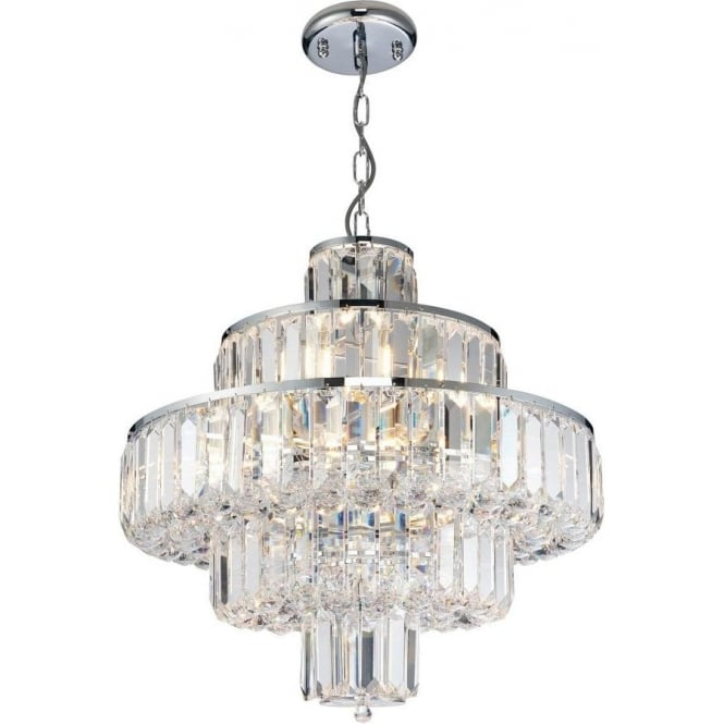 Endon 62184 Banderas 10 Light Crystal Ceiling Light Polished Chrome