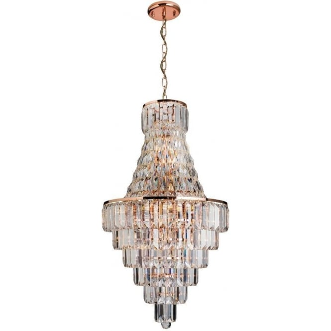 This beautiful rose gold chandelier is the 61150 innsbruck by endon 61150 innsbruck 18 light ceiling light rose gold plate aloadofball Choice Image