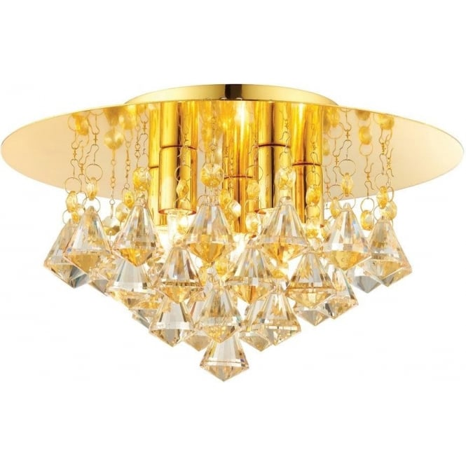 Endon 61245 Renner 5 Light Crystal Ceiling Light Gold