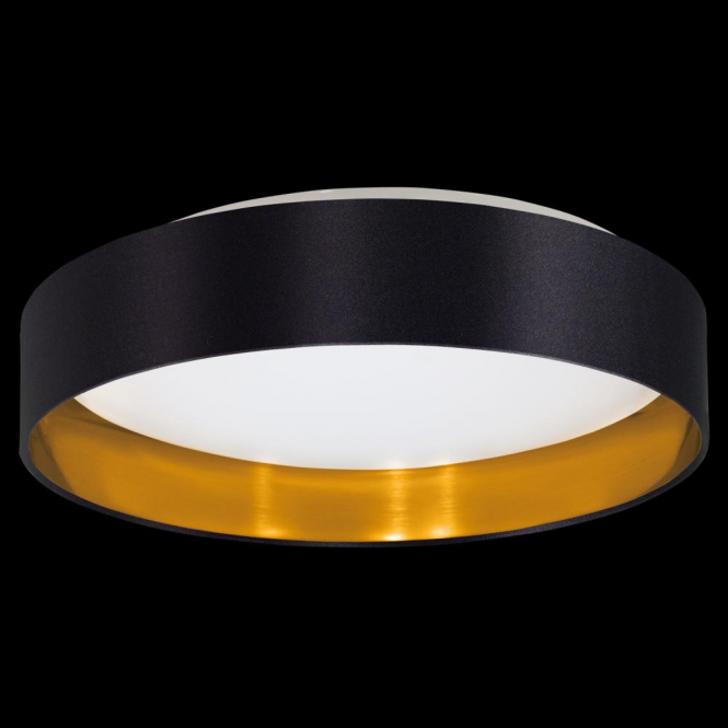 Led Ceiling Lights Gold: This Is A LED Ceiling Light With Glossy Black Fabric And